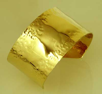 wide hammered 14k cuff